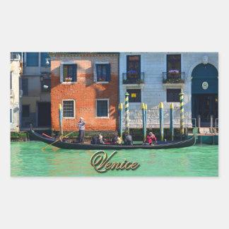 Venetian gondolier rectangular sticker