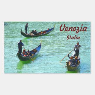 Venetian gondoliers rectangular sticker