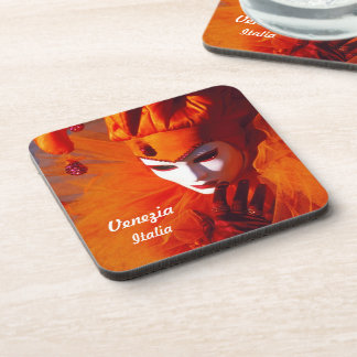 Venetian Harlequin In Orange Carnival Costume Beverage Coaster