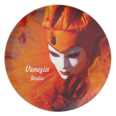 Venetian Harlequin In Orange Carnival Costume Plate