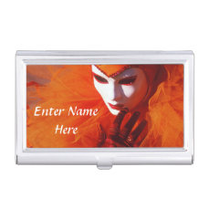 Venetian Harlequin With Orange Costume Business Card Case