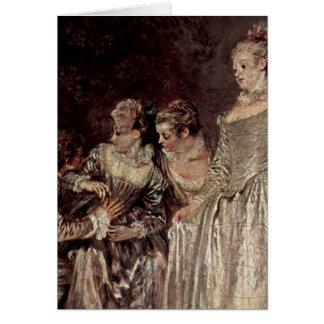 Venetian Holidays Detail By Antoine Watteau Greeting Card