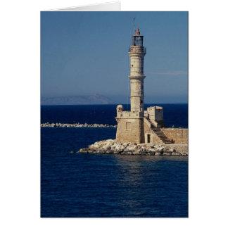 Venetian lighthouse, Xania, Crete, Greece Greeting Card