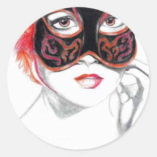 Venetian Mask Girl Ruby Classic Round Sticker