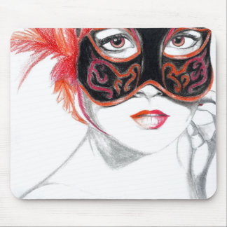 Venetian Mask Girl Ruby Mouse Pad