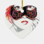 Venetian Mask Girl Ruby Double-Sided Heart Ceramic Christmas Ornament