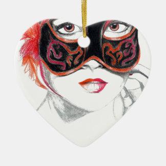 Venetian Mask Girl Ruby Ornaments