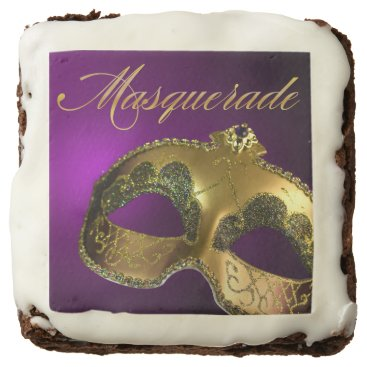 Halloween Themed Venetian Mask Masquerade Party | gold purple Chocolate Brownie