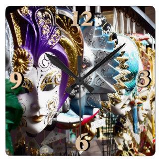 Venetian Masks 1 Square Wall Clock