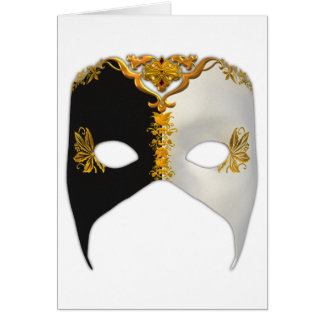 Venetian Masque: Black, White and Gold Card