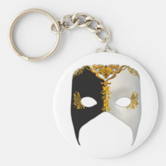 Venetian Masque: Black, White and Gold Keychain