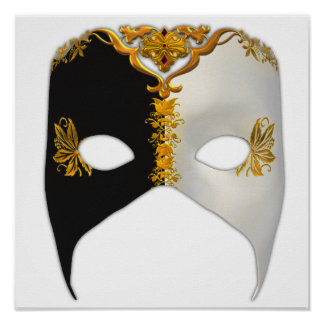 Venetian Masque: Black, White and Gold Poster
