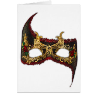 Venetian Masque: Gold and Red Rose Card
