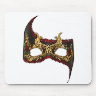 Venetian Masque: Gold and Red Rose Mouse Pad