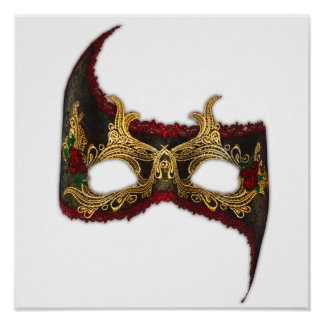 Venetian Masque: Gold and Red Rose Print