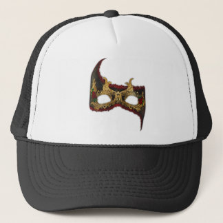 Venetian Masque: Gold and Red Rose Trucker Hat