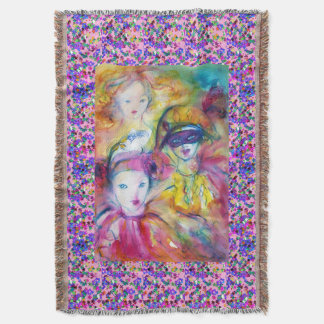 VENETIAN MASQUERADE /ARLECCHINO,PIERO ,COLOMBINA THROW BLANKET