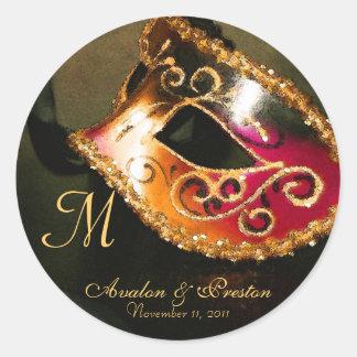 Venetian Masquerade Elegant Monogram Sticker