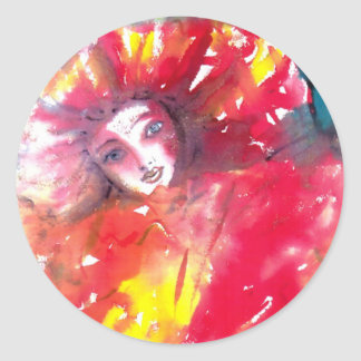 VENETIAN MASQUERADE FACES - MASK IN RED CLASSIC ROUND STICKER
