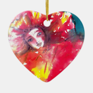 VENETIAN MASQUERADE FACES - MASK IN RED Heart Ceramic Ornament