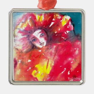 VENETIAN MASQUERADE FACES - MASK IN RED CHRISTMAS TREE ORNAMENT