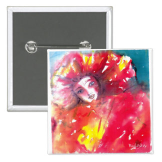 VENETIAN MASQUERADE FACES - MASK IN RED PINBACK BUTTON