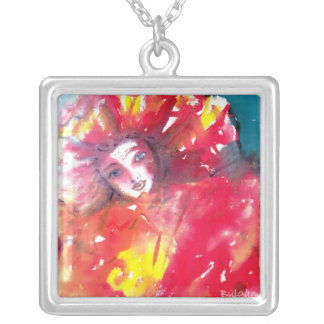 VENETIAN MASQUERADE FACES - MASK IN RED SQUARE PENDANT NECKLACE