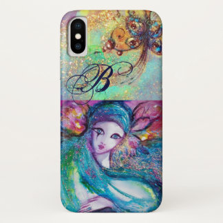 VENETIAN MASQUERADE /MASK IN BLUE MONOGRAM iPhone X CASE