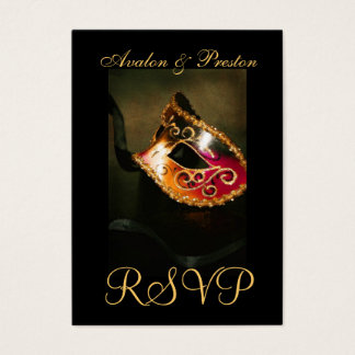 Venetian Masquerade Mask RSVP Wedding Cards