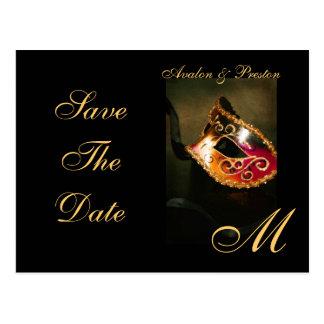 Venetian Masquerade Mask Save The Date Postcard