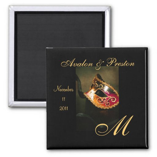 Venetian Masquerade Monogram Save The Date Magnet