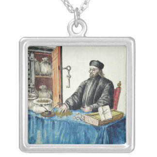 Venetian Moneylender, from an illustrated book Silver Plated Necklace