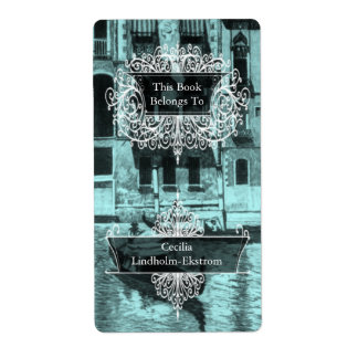 Venetian Monotone in Shades of Aqua & Black Label