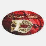 Venetian Nights Masquerade Party Oval Sticker