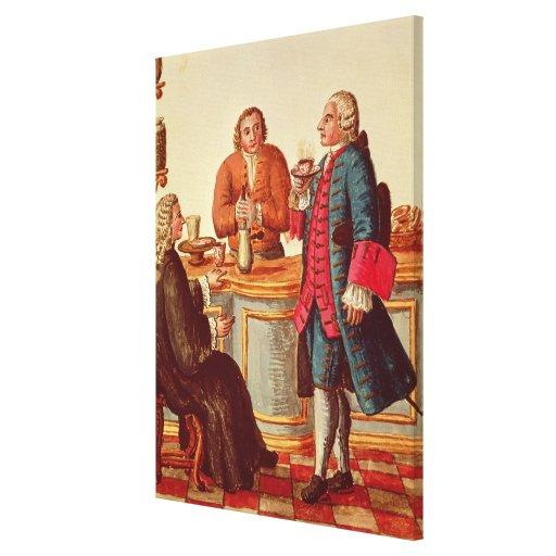 Venetian Noblemen in a Cafe Canvas Prints