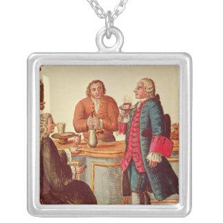 Venetian Noblemen in a Cafe Square Pendant Necklace