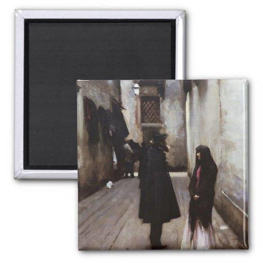 Venetian Street fine art painting John Sargent 2 Inch Square Magnet