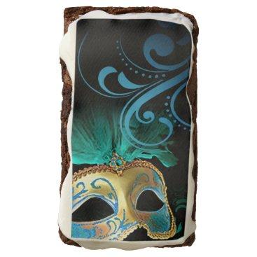 Halloween Themed Venetian Verdigris Mask Masquerade   gold teal Brownie