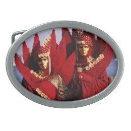 Venetians In Red Costumes & Golden Carnival Masks Oval Belt Buckle