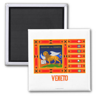 Veneto flag with name 2 inch square magnet