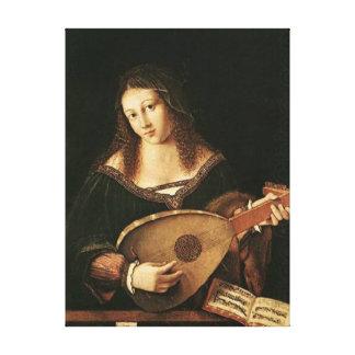 Véneto-Mujer de BARTOLOMÉ que toca un laúd Lona Estirada Galerías