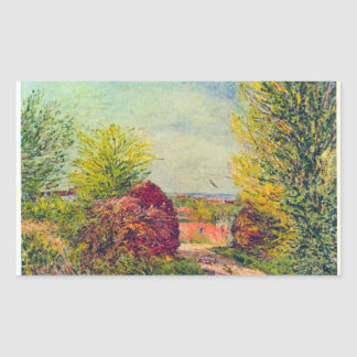 Veneux-Nadon in the spring by Alfred Sisley Rectangular Sticker