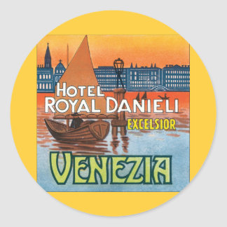 Venezia Hotel Royal Danieli Round Stickers