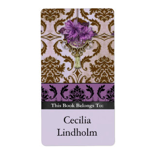 VENEZIA POINSETTIA in Brown and Lilac Custom Shipping Label
