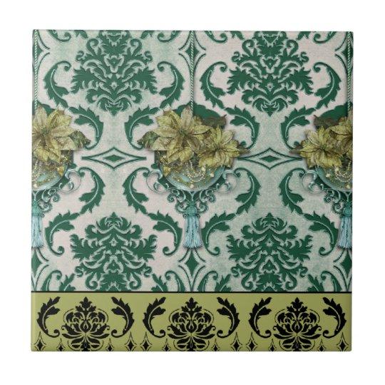 VENEZIA POINSETTIA in Teal & Green Ceramic Tile