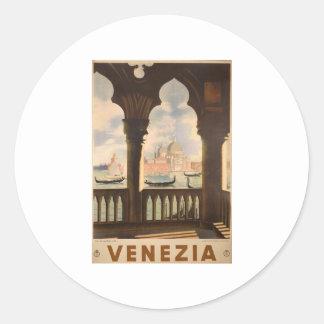 Venezia poster design round sticker
