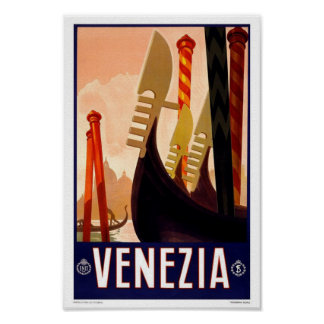 Venezia Venice Italy Vintage Travel Poster
