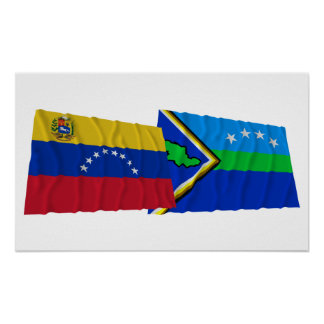 Venezuela and Delta Amacuro Waving Flags Poster