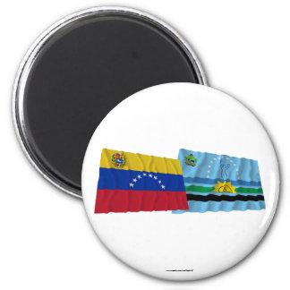 Venezuela and Monagas Waving Flags 2 Inch Round Magnet