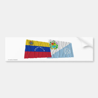 Venezuela and Sucre Waving Flags Car Bumper Sticker